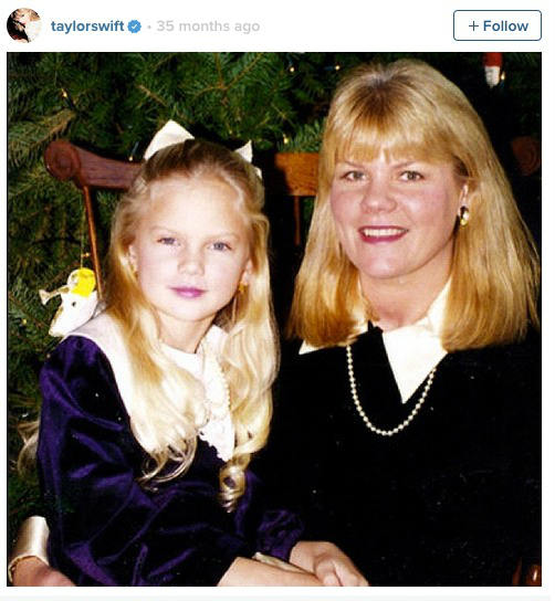 Taylor Swift and her mom way back when, from Swift's Instagram.