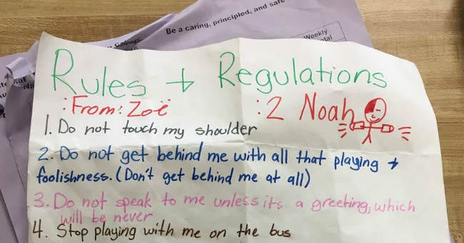 5th Grade Girl Makes List of Rules For Boy Who Won't Leave