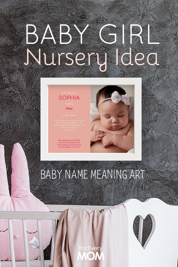 Looking for a baby girl nursery idea? We love this free customizable baby name wall art. It lets you insert your baby's photo and gives the meaning of your baby's name as well as a Bible verse and prayer.