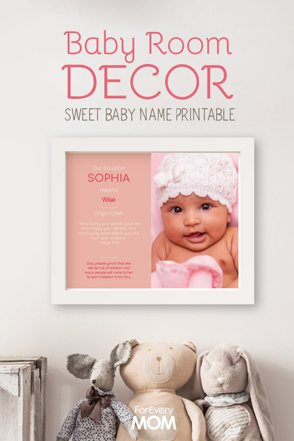 Must have decor for any baby room! This free printable let's you customize it with you baby's picture. It gives the meaning of your daughter's name, a Bible verse, and a prayer. Too sweet!