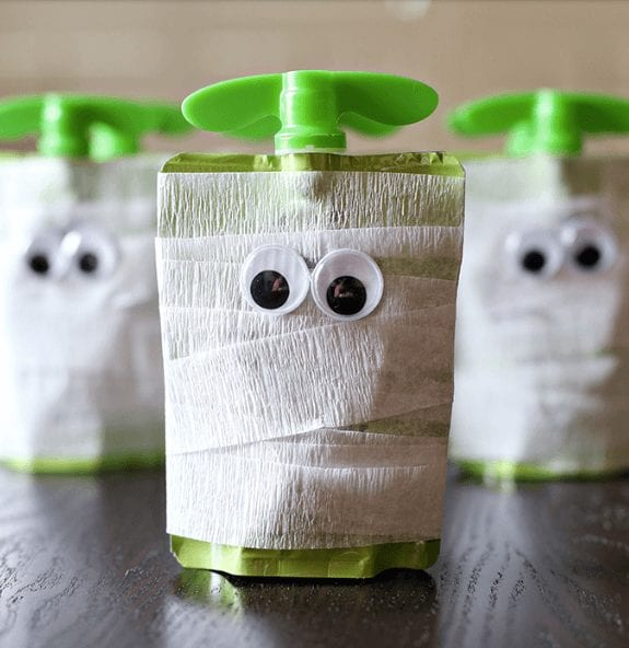 Halloween snack ideas mummy apple sauce