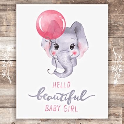 baby girl nursery elephant print art