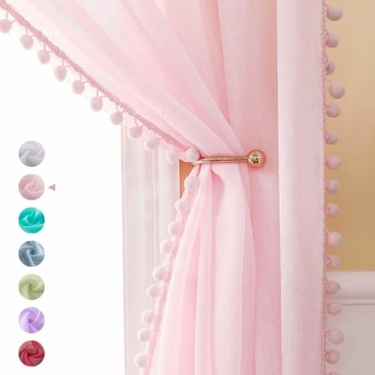 baby girl nursery pom pom curtains