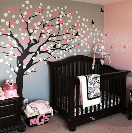 cherry blossom baby girl nursery ideas